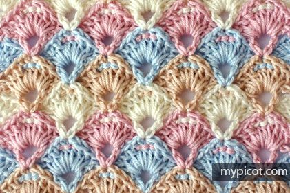 Crocheted textured shell stitch - MyPicot | Free crochet patterns