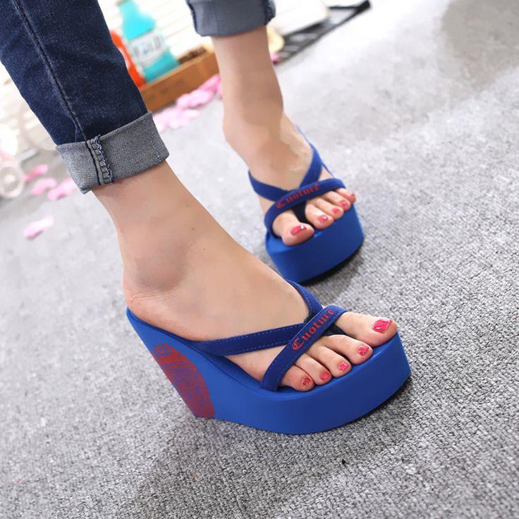 2017 New Arrival Shoes Woman Summer Flip Flops Super High Heel Wedges Platform Women Slippers Ladies Designer Flip Flops 40