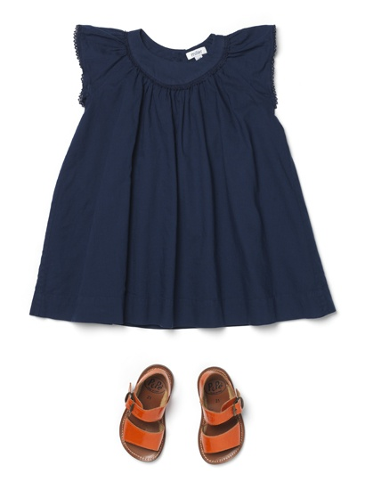 Navy blue dress with cute sandals...surprisingly girly