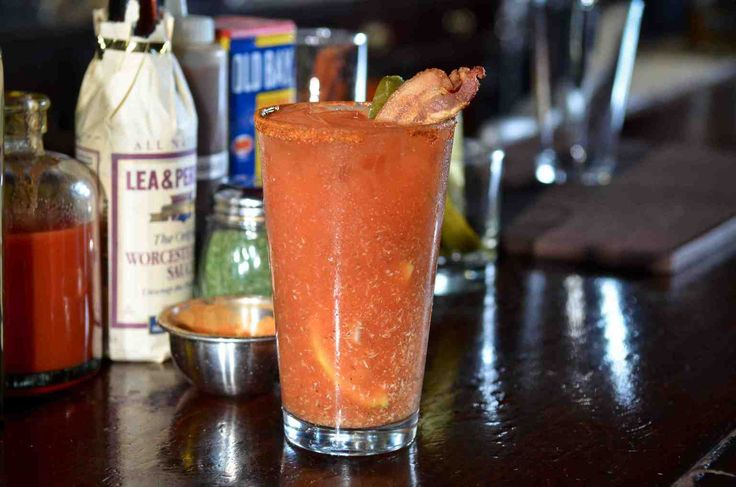 Award winning Bloody Mary recipe - dash of celery salt, dash of white pepper, dash of tabasco, dash of Worcestershire sauce, 4 ounces of tomato juice, 2 ounces of vodka, 1/4 squeezed lemon, teaspoon of horseradish, few dashes of dried dill, half ounce of pickle juice, ice.  Roll between two glasses, don't shake.  Rim the glass with Old Bay and garnish with a pickle spear and (optional) bacon.