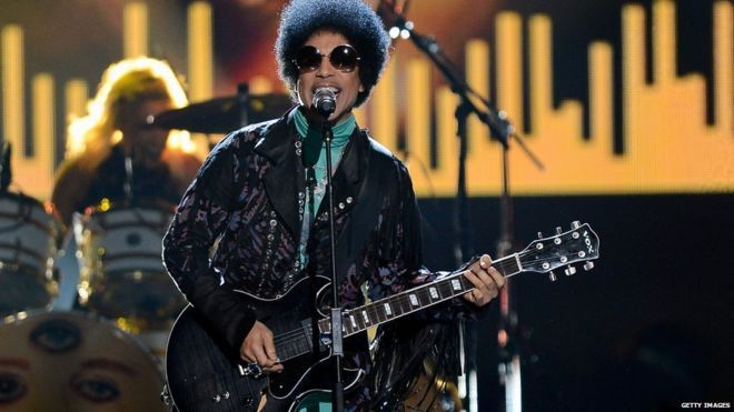 Prince on stageGetty Images His music blends rock, R&B, soul, funk and pop, and made him one of the best-selling artists of all time.