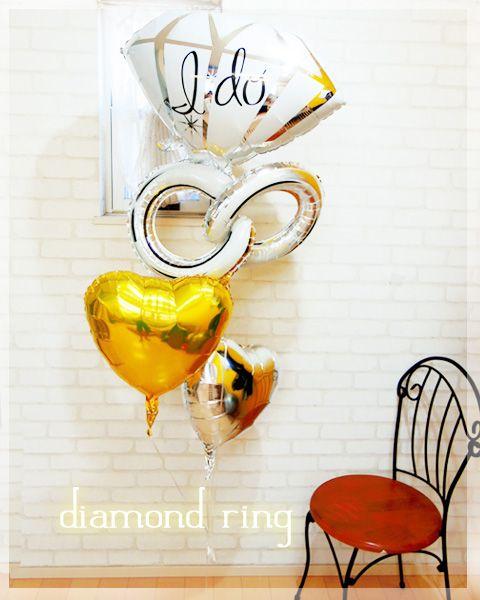 diamond ring(ゴールド&シルバー) - バルーン電報を全国宅配!結婚式・誕生日の電報に|福福バルーン