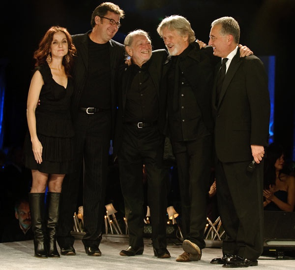 Patty Griffin, Vince Gill, Willie Nelson, Kris Kristofferson and BMI's Del Bryant onstage at the 2009 BMI