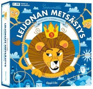 Leijona on karannut! Seikkaile Suomen kartalla ja ime tietoa Suomen luonnosta, maantiedosta, nähtävyyksistä, historiasta ja tapahtumista. Huumorilla höystettyjen eritasoisten kysymyskorttien ansiosta aikuiset ja lapset pelaavat peliä tasavertaisina. Sisältää säännöt neljään eri peliin ja yllättävät käänteet tekevät joka pelikerrasta erilaisen. Äläkä unohda palauttaa Suomen leijonaa Korkeasaareen tai Ruokolahdelle!