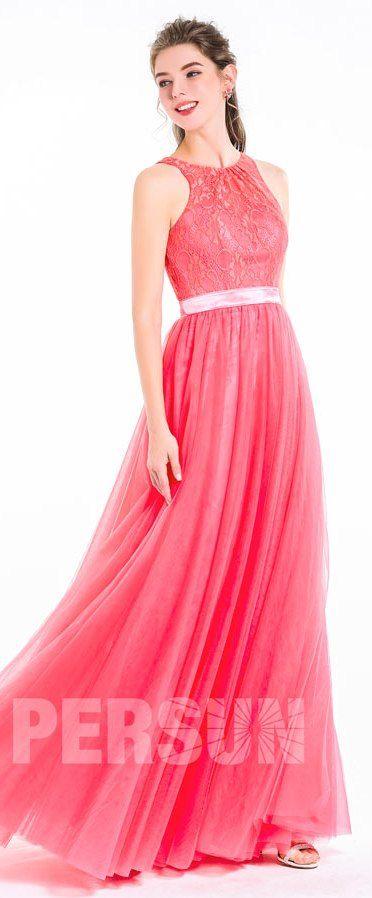 Robe romantique rose corail dentelle longue jupe en tulle pour soirée cérémonie mariage saint valentin rendez vous