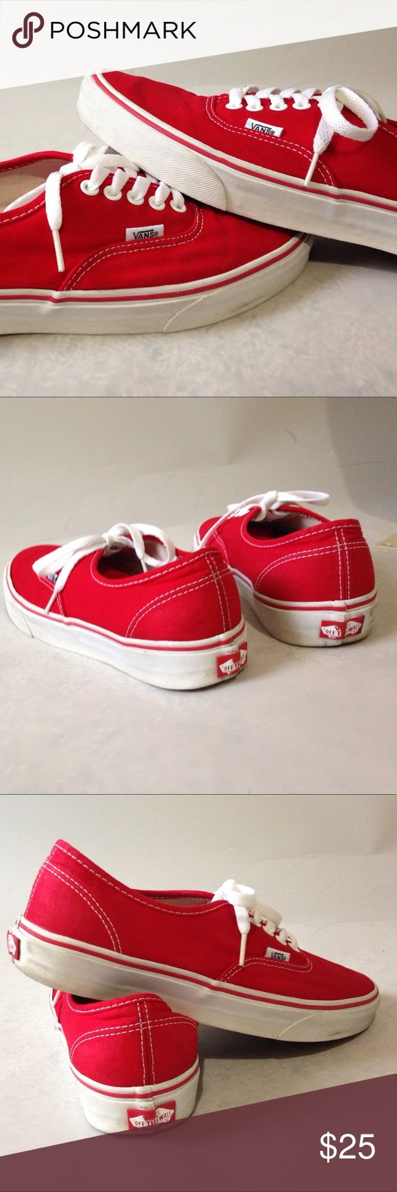 Vans red and white mens Sz 9, women's Sz 10.5 Vans authentic Red Mens/Women's. Mens size 9, women's size 10.5 Vans Shoes Athletic Shoes