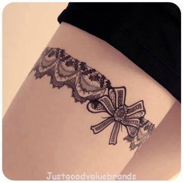 Temporary lace garter tattoo