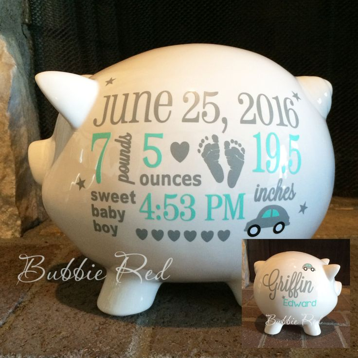 150 best great gifts images on pinterest personalized piggy bank baby boy piggy bank baby birth stats gift baby boy negle Choice Image