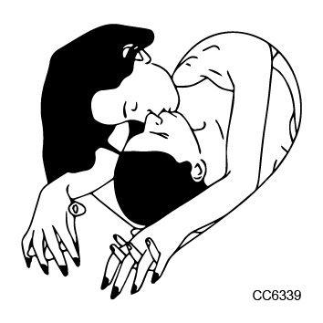 CC6339 6X6cm Sexy Old School Style Make Love Depp Kiss Temptation Temporary Tattoo Sticker Body Art Water Transfer Fake Taty