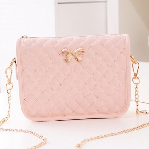 Pink purse with gold bow