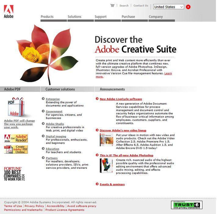 Adobe website 2004