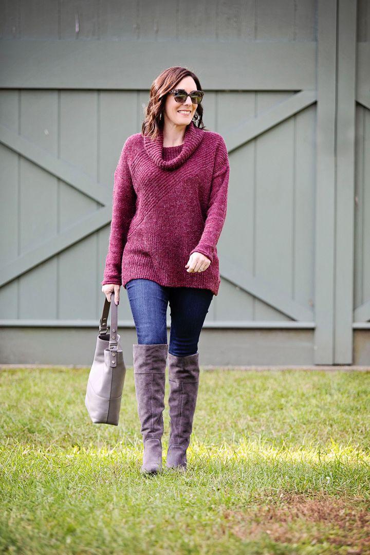 ea068d602340 Fall Outfit Inspo  Caslon Mix Stitch Funnel Neck Sweater