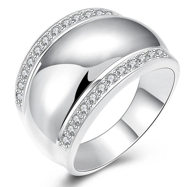 Europe and the United States selling silver jewelry wide version of the smooth set of zircon rings containing shipping