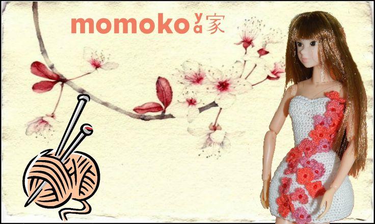 Momoko doll dress craft white&flowers