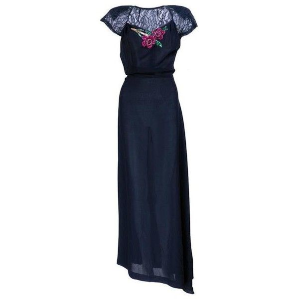 Preowned 1940s Black Crepe Evening Gown With Sequin Applique ($650) ❤ liked on Polyvore featuring dresses, gowns, vintage, black, evening dresses, floral ball gown, sequin gown, vintage ball gowns, vintage gowns and vintage dresses