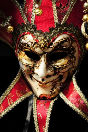 Golden and Red Jester Costume mask