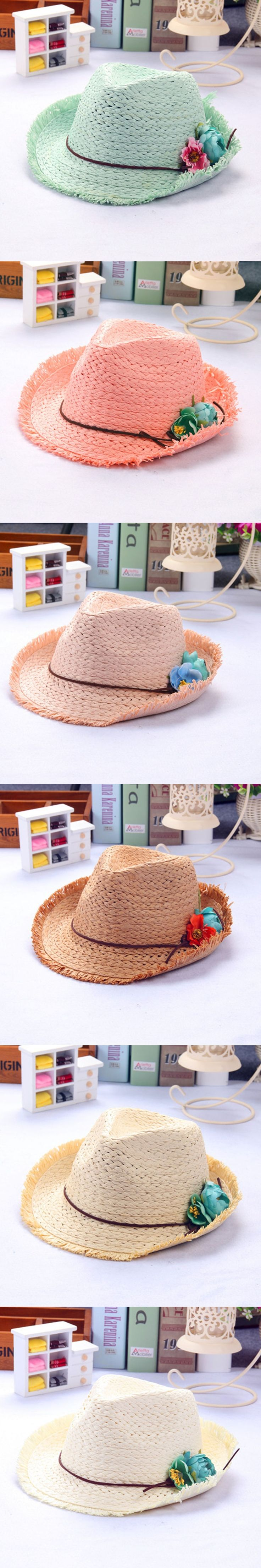 children babys boys and girls new sun hat beach double color child hat summer Hand weave broken edges jazz hat lm15