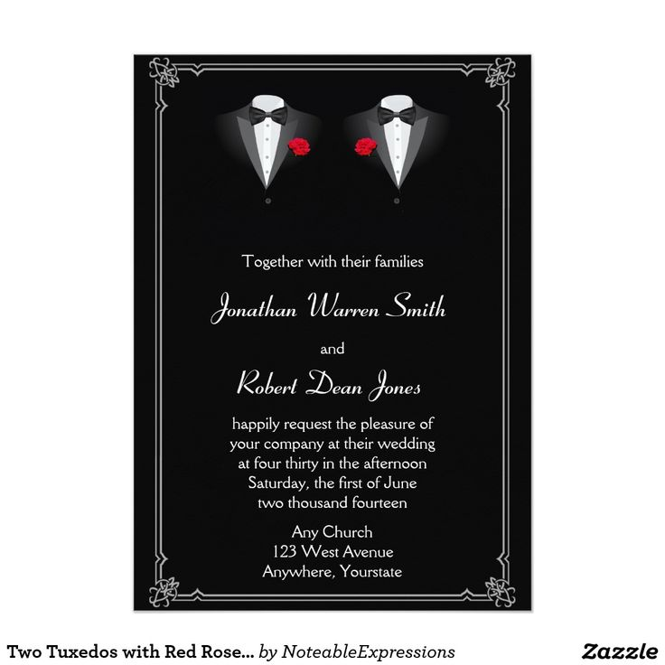 Two Tuxedos With Red Rose Gay Wedding Invitation
