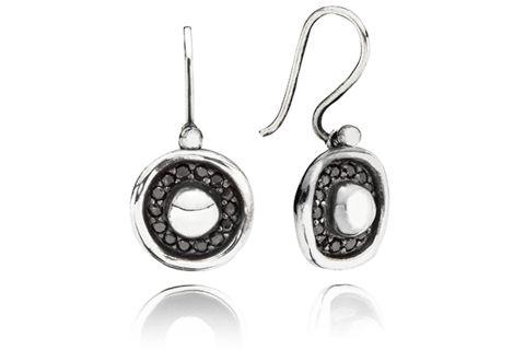Earhook Oxidised Sterling Silver w. semi-precious stones