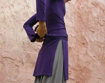 Womens Top/tunica-autunno inverno Tunica lunga manica tibetano Wrap tunica-wrap Top per donna-purple inverno tunica-made To Order
