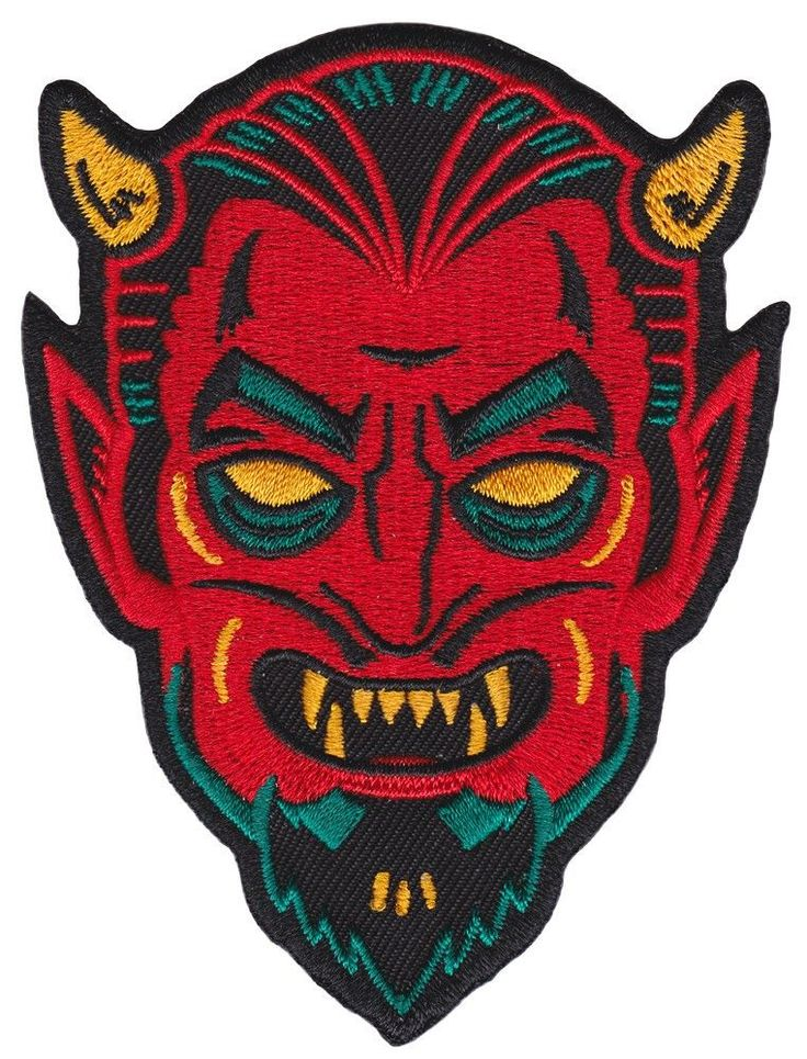 With a design reminiscent of vintage halloween masks, this devil would love to creep his way onto your favorite jacket or vest. This patch has an iron-on backing making it perfect for easily applying