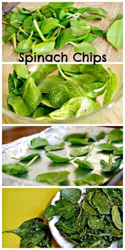 Spinach (2 cups) Olive Oil (as needed) Italian Seasoning (to taste) Salt (to taste)  1. Preheat the oven to 325 degrees F. 2. In a bowl mix spinach leaves & olive oil well without breaking the leaves. 3. Sprinkle salt & Italian blend. Mix well till all leaves are coated. 4. Take a foil lined baking sheet & arrange the leaves in a single layer 5. Bake for 8 minutes. Remove & let it sit for 2 minutes. 6. In a serving bowl or plate, serve the spinach chips with a nice dip and a refreshing…