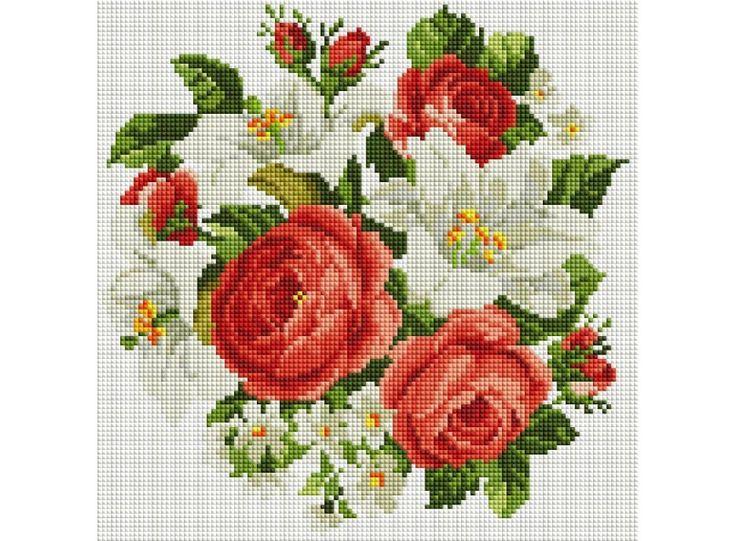 Набор Белоснежка для изготовления картин со стразами на подрамнике арт.БЛ.329-ST-S Розы и лилии 40х50см
