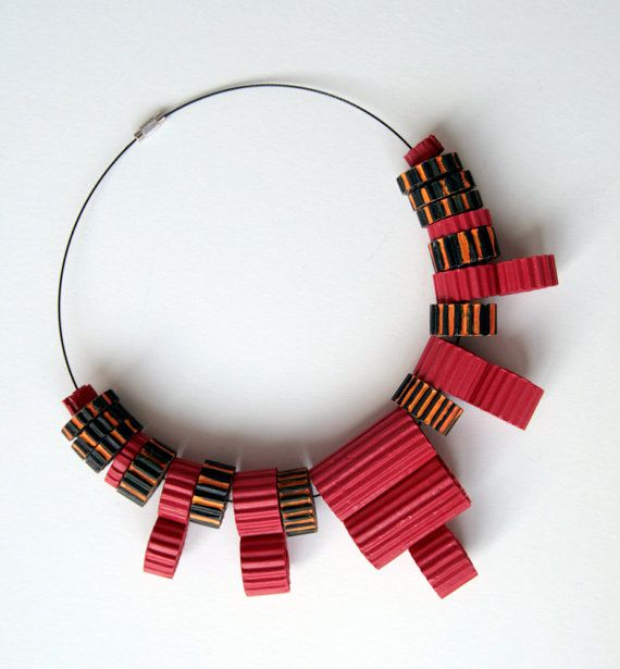 Natural jewelry Modern corrugated paper necklace with red beads Eco necklace…