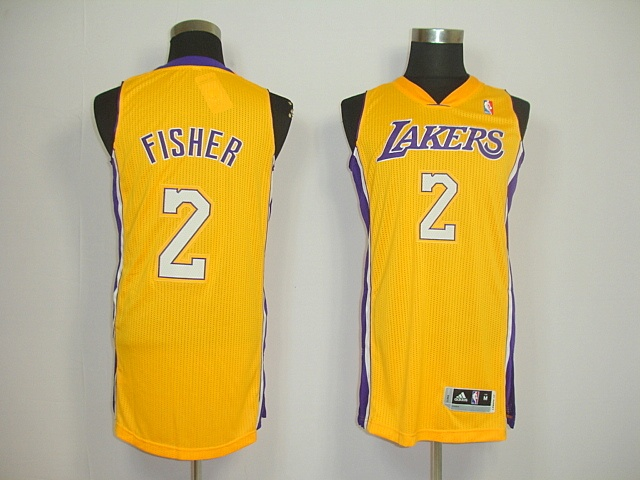 Los Angeles Lakers 02 Fisher Yellow Revolution30 Jerseys $18.99