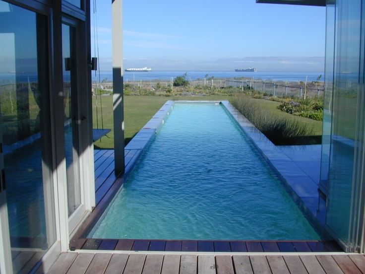 Exterior: Varnished Pool Design Inground Lap Pool Design Ideas With Block  Paving In With Pic
