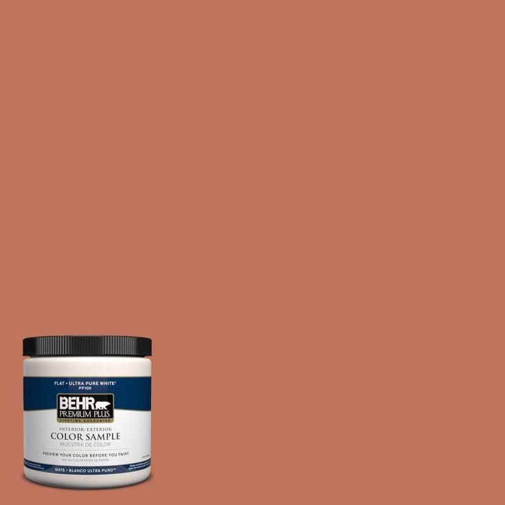 behr premium plus 8 oz pmd 11 warm terra cotta flat zero voc interiorexterior paint and primer in one sample