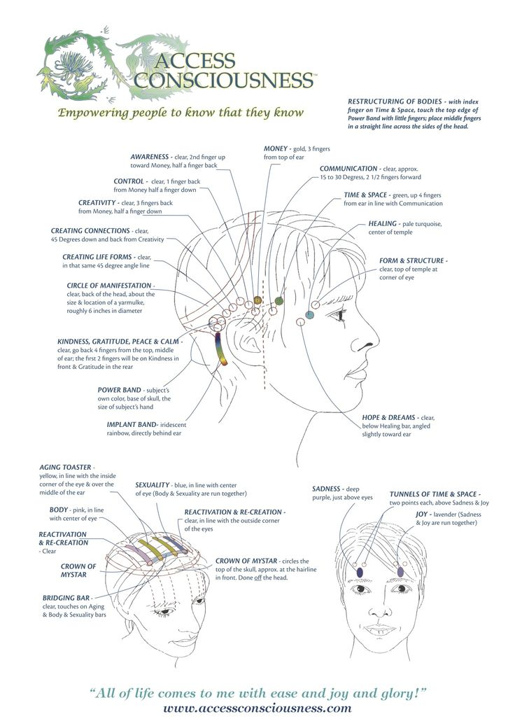 Here are the different points that are gently touched on the head during an Access Bars session.