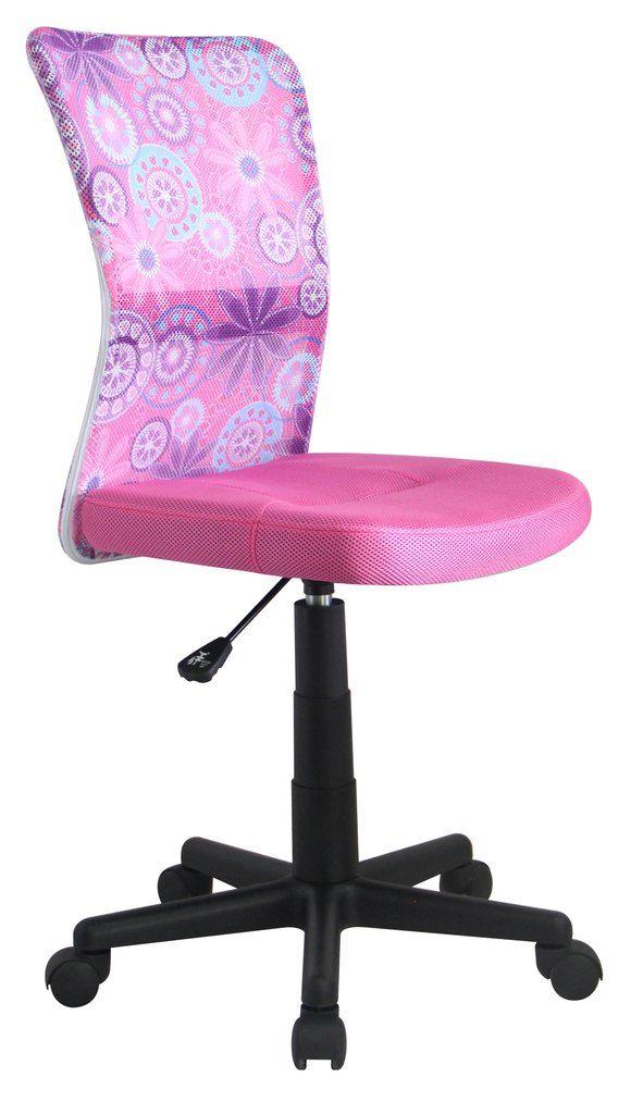 Dingo is een moderne in hoogte verstelbare kinderbureaustoel uitgevoerd met stoffen bekleding verkrijgbaar in de kleuren Zwart, Blauw of Roze.