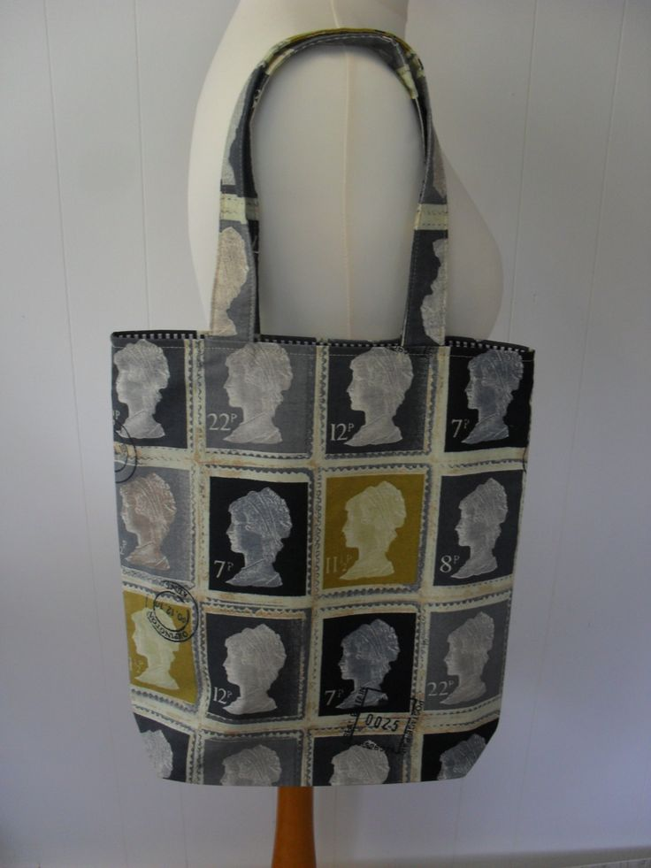 UK First Class Postage Stamps Tote Bag with Black and White lining. by LDCcreations on Etsy