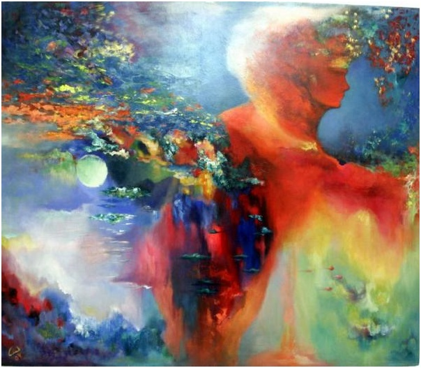 The Humanity Painting by Lamis Dachwali - The Humanity Fine Art.  Love the abstract symbiologies