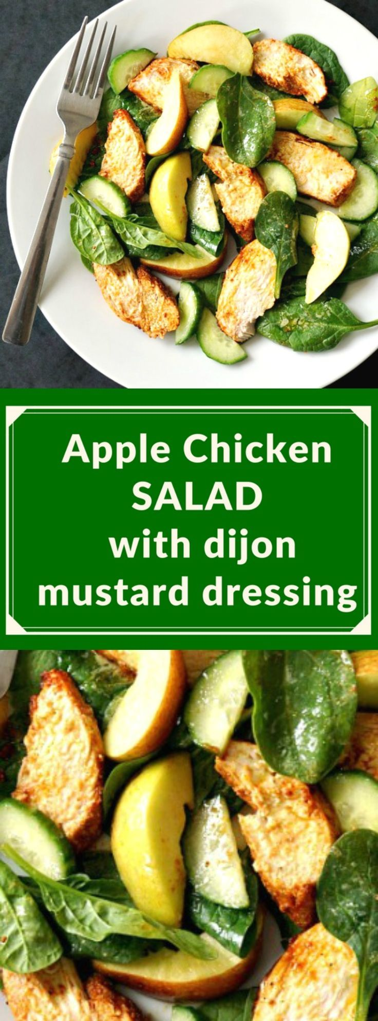 Apple chicken salad with dijon mustard dressing, a superb salad that is healthy, delicious and satisfying.