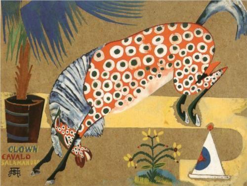 Clown, Horse, Salamandra, 1913 by Amadeo de Souza-Cardoso, (Portuguese 1887-1918)