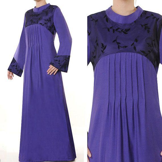 2538 Purple High Neck Lace Ladies Muslim Abaya Long by MissMode21, $30.00