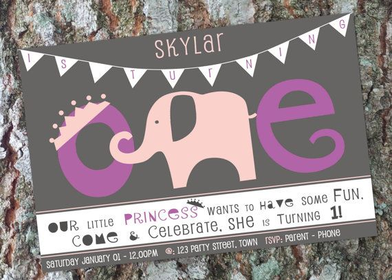 Elephant First Birthday Invitation  Girl  Princess by LittleOakInk