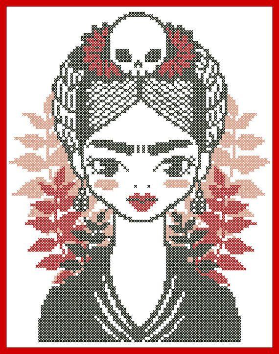 BOGO FREE Frida Kahlo Modern original cross stitch pattern