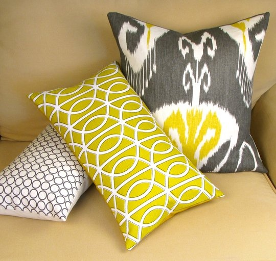 Win: Gray and Yellow IKAT Pillow Set Holiday Giveaway (Value $250.)