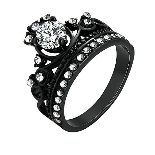 MoAndy 18K Black Gold Plated Bridal Crown Claddagh Rings White Crystal Inlaid SWA Element Crown Ring >>> Read more reviews of the product by visiting the link on the image.