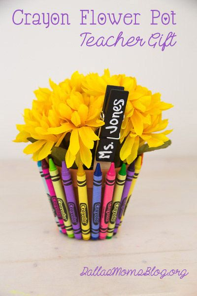 Crayon Flower Pot Teacher Gift | Dallas Moms Blog
