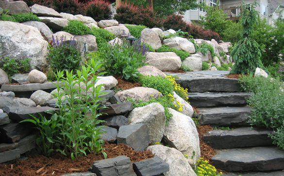 Landscaping with large rocks images google search for Hillside rock garden designs