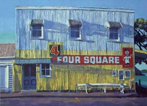 Four Square Store at Sunrise by Bill MacCormick for Sale - New Zealand Art Prints