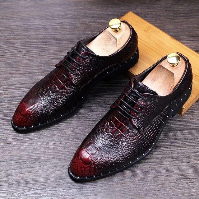 Sapatos de vestido de couro Homem Casual Toe Pointed Oxfords Mens Lace-Up Business Office Oxford Shoe   – oxford shoes