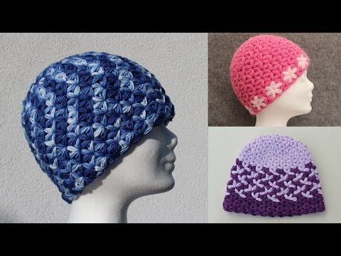 Triangle Star Stitch Basic Hat- Beanie - DIY Crochet Tutorial - Puffed Star Stitch - All Sizes - YouTube