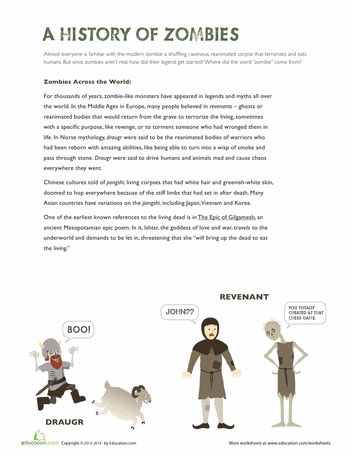 Worksheets: History of Zombies. These are so fun! I started printing out sheets from this site to arm my kids with a folder of activities for when they're bored or rained in. We are having so much fun on this site.