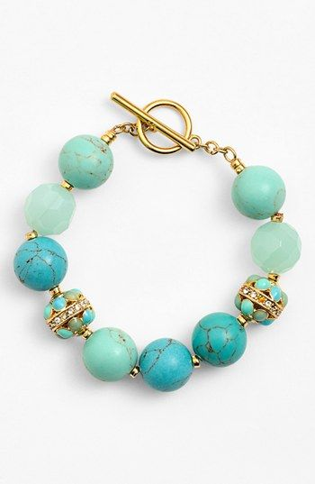 Free shipping and returns on Lauren Ralph Lauren Beaded Toggle Bracelet at Nordstrom.com. Vivid blues and greens pop from a chunky bead bracelet accented with crystal pavé and warm-gold plating.