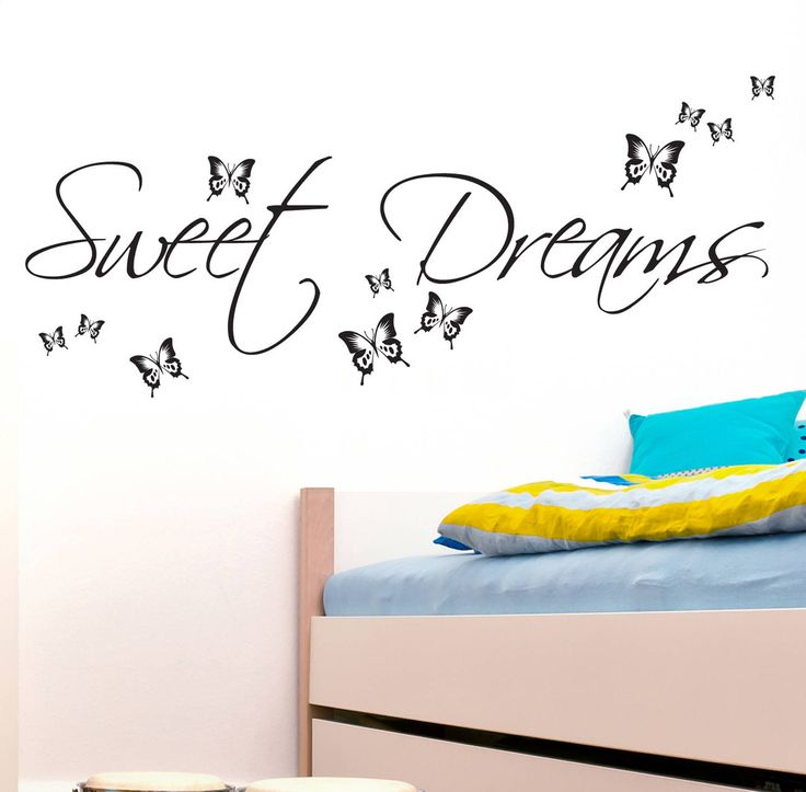 sweet dream wall decals quotes with buterfly bedroom decor